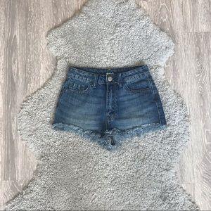 Dark wash high waisted shorts